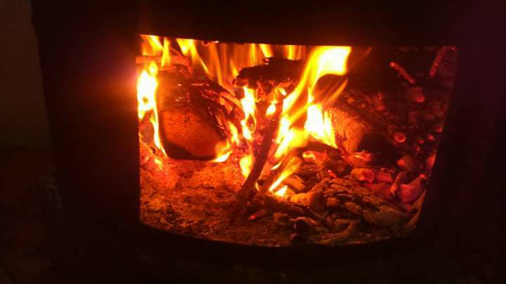 fire burning brightly in a fireplace